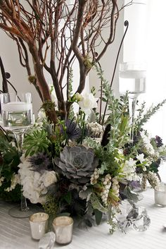 Winter arrangement with branches and succulents