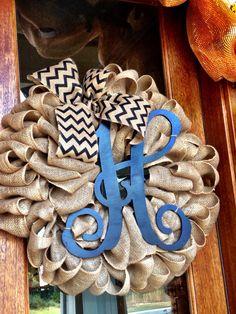 Large Custom Personalized Initial H Burlap Wreath