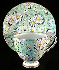 Shelley Green Daisy Chintz Ripon Cup and Saucer England