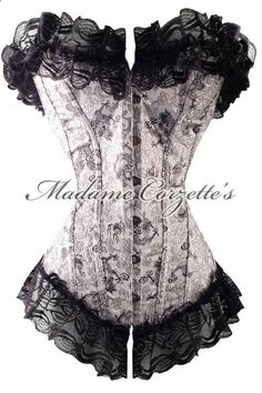 minus the fluff at top and bottom - awesome corset Sexy Corset, Overbust Corset, Waist Trainer Corset, Silver Dragon, Black Dragon, Gothic Outfits, Luxury Lingerie, Girl Outfits, Dress Up