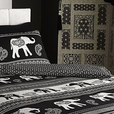 Empire Size Ethnic Indian Quilt Duvet Cover and 2 Pillowcase Bedding Set Black for sale online Bedding Sets Uk, Duvet Bedding, Luxury Bedding Sets, Elephant Bed Set, Elephant Bedding, Indian Bedding, Indian Quilt, Bed Sets For Sale, Empire