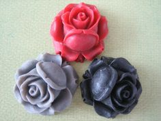 3PCS  Mixed Colors  Vintage Flair Resin Rose Flower by ZARDENIA, $3.75