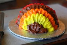 I got this wild brainstorm the other night to make a Turkey Cake. It occurred to me that the petal icing effect that I used on  this ...