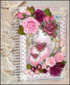 ELITE4U Georgette Shabby Style Heart Handmade Premade Scrapbook Journal Album #FabScraps
