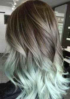 Silver Hair Grey Hair Mint Hair Balayage Hair Ombre Hair Extensions Brown Hair Pastel Hair H Dress Models Blonde Ombre Hair, Balayage Hair Ombre, Brown Ombre Hair, Ombre Hair Color, Hair Colors, Balayage Highlights, Wavy Hair, Brown To Grey Ombre, Mint Hair Color