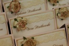 Wedding Place Cards, The Vera Collection, Favor Tags, Blessing Cards, Vintage, Lace, Pink, Shabby Chic Style