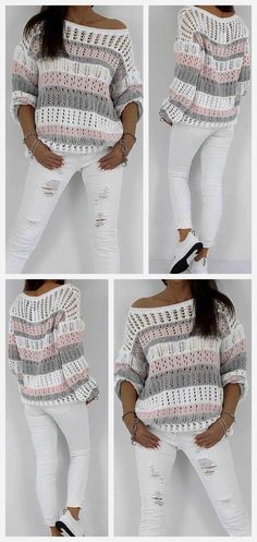 Pull Crochet, Knit Crochet, Knitting Patterns, Sewing Patterns, Crochet Patterns, Sewing Clothes, Crochet Clothes, Blouse Styles, Blouse Designs