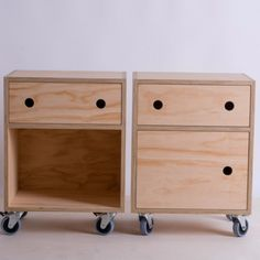 18 mm Radiata bedside cabinets One with door one without. Blum soft close drawers Supplied with industrial castors, 2x lockable. Hand finished in Osmo hardwax