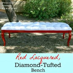 Awesome tutorial on how to make this Diamond Tufted Bench from an old Coffee Table Pneumatic Addict