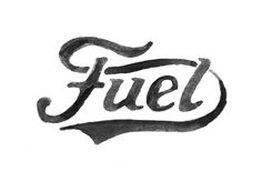 bmd design, fuel motorcycles, hand lettering, watercolor