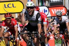 Mark Cavendish reacts to winning stage 6 at the Tour de France.