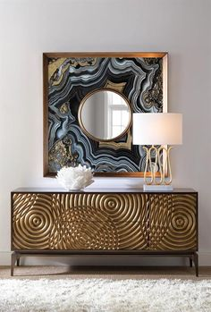 Limited Production Design & Stock:  Grand Spherical Art Sideboard  * Distressed Gold Detailing * Mayan Bronze Case * Inc: 2 Cupboards With Shelving 2 Central Drawers * 31 x 69 x 18 inches  * Only Few Remaining