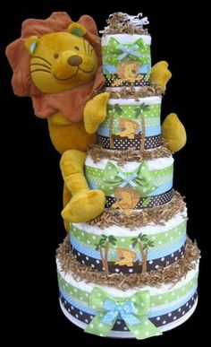 5 Tier Jungle King Lion Diaper Cake, Baby Shower Centerpiece