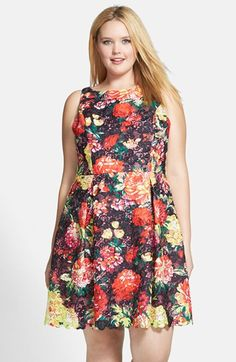Adrianna+Papell+Print+Lace+Fit+&+Flare+Dress+(Plus+Size)+available+at+#Nordstrom