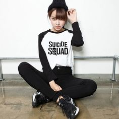 Ícone de Estilo solto do Esquadrão Suicida Emoji Impressão Raglan Manga Longa T-shirt Das Mulheres T Impresso Camiseta Roupas Camisetas Harley Quinn