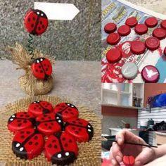 diy bottle cap ladybug na Fotografie - Zszywka. Plastic Bottle Crafts, Bottle Cap Crafts, Diy Bottle, Reuse Plastic Bottles, Plastic Caps, Recycled Bottles, Recycled Crafts, Diy Projects To Try, Craft Projects