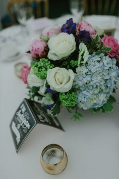 Flowers Table Centrepiece Hydrangea Rose Peony Pastel Summer Marquee Country Estate Wedding http://www.rooftopmosaic.com/