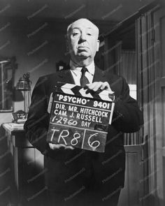 Alfred Hitchcock w Psycho Clapperboard 8x10 Reprint of Old Photo   eBay