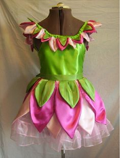 Green and Pink Fairy Dress with leaf --Perfect!!!