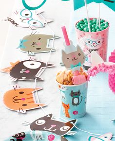 How cute is this cat bunting? It'd be perfect for a cat themed party! Throw the purr-fect cute cat themed party with our collection of kitty cat party ideas! Browse tableware, decorations, party food and more. Cat Birthday, 6th Birthday Parties, Birthday Party Decorations, Birthday Games, Kitten Party, Cat Party, Cat Themed Parties, Toddler Party Games, Sleepover Party
