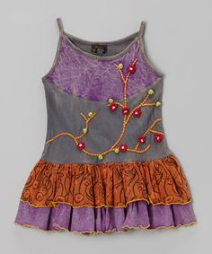 This Gray & Purple Ruffle Drop-Waist Dress - Girls is perfect! #zulilyfinds  Hate the colors, but love the vine detail.