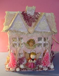 CHRISTMAS VICTORIAN PINK SHABBY GLITTER HOUSE ANGEL TREES LIGHTS UP VGC | eBay