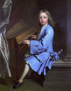 Portrait de Garton Orme à l'épinette, 1707 attribué à Jonathan Richardson l'aîné