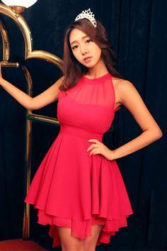 Fashion Sweet O Neck Off The Shoulder Sleeveless Pink Waist Skirt Mini Dress