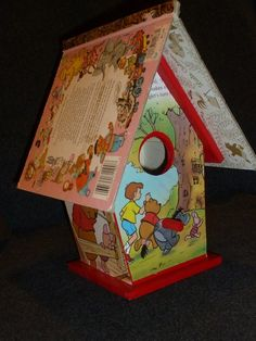 Does it get cuter than this?!    Little Acorn Products' repurposed book birdhouse