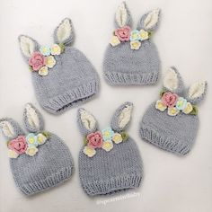Shop designer kids fashion and accessories for girls and boys including Mini Rodini, Little Unicorn, Dockatot and Spearmint LOVE. Shipping in the US is always free.This is the sweetest little bunny hat with a crown of knitted flowers between the ears. Knitted Hats Kids, Baby Hats Knitting, Knitting For Kids, Kids Hats, Baby Knitting Patterns, Knitting Projects, Crochet Projects, Crochet Hats, Beanie Babies