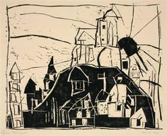 STADT AUF DEM BERGE By Lyonel Feininger Artwork Description Dimensions: 40,5 x 50 cm (46,4 x 56,1 cm) (16 x 19 5/8 in. (18 1/4 x 22 1/8 in.) Medium: Woodcut on wove paper Creation Date: 1918