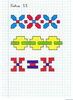 Ficha-nº 15 Barn Quilt Patterns, Pattern Books, Pattern Art, Graph Paper Drawings, Graph Paper Art, Geometric Drawing, Geometric Art, Blackwork, Graph Crochet