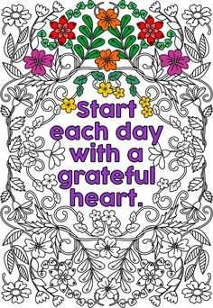 Printable Start Each Day With A Grateful Heart Flower Design Coloring Page For