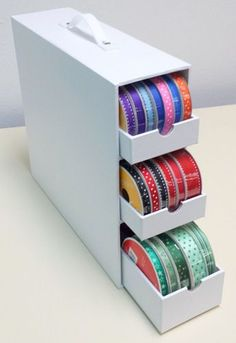 Craft Organization Ribbon Ideas For 2019 Ribbon Organization, Ribbon Storage, Sewing Room Organization, Craft Room Storage, Diy Storage, Organization Hacks, Paper Storage, Craft Rooms, Organizing Tips