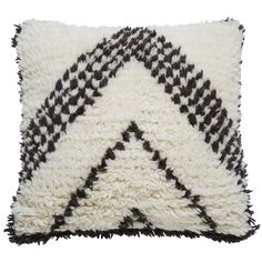 Coussin en laine et coton écru/noir ...
