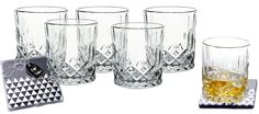 Lead-Free Crystal Double Old-Fashioned Highball Water Glasses, SET OF Heavy Base Barware Glasses Set, Drinking Glasses. Free Set of 2 Bar Drink Coasters Included Gin Glasses, Whiskey Glasses, Gin Goblets, Luxury Glasses, Bar Drinks, Drink Coasters, Lead Free, Wine Glass, Barware