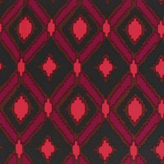 "Magenta Brown Ethnic Diamonds Peach Skin Fabric - Coral, magenta, black, and black ethnic inspired diamond print on a peach skin fabric. Peach skin fabric has a soft brushed finish, does not wrinkle, and is perfect for dresses, tops, skirts, and more!  Black diamond measures 6"".  ::  $6.50"