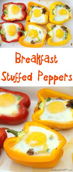 Breakfast Stuffed Peppers | Sausage Stuffed Pepper | Brunch Ideas | Sausage, Egg and Cheese in a Bellpepper | www.madewithhappy.com