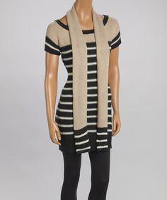 Look what I found on #zulily! Black & Vanilla Stripe Short-Sleeve Sweater Dress & Scarf #zulilyfinds