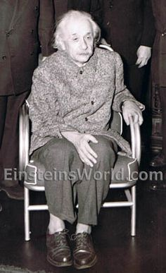 "Jan 31, 1950 ::: A frail Albert Einstein in late 1950, five years before his death.  During this period (1950), he was very ill, but then recovered and lived another five years.  Early in his life, Einstein not only refused to comb his hair, but also did not like to wear socks (as shown in this photo) - HOWEVER, he looks to be wearing ""men's"" shoes for a change."