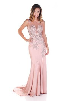 Clarisse 2818 Blush Floral Print Gown $110 Rental blush pink gown, pink prom dress, sweetheart neckline, gown with slit, beaded prom dress