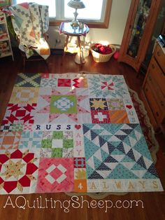 modern building blocks quilt with lori holt fabric and words added, gorgeous