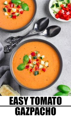 Make your summer meals a breeze with this Easy Gazpacho Recipe. You don't even have to turn on your stove just blend a chock-full of garden veggies with seasonings and chill to marinate the fresh flavors. It's creamy zesty and SO satisfying! Vegan Dinner Recipes, Healthy Soup Recipes, Delicious Vegan Recipes, Vegan Snacks, Vegan Dinners, Vegetarian Recipes, Cooking Recipes, Amazing Recipes, Vegan Soups