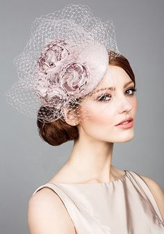 Rachel Trevor Morgan - Silk taffeta pillbox with hand made flowers and veiling
