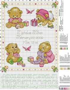 Find this Pin and more on Baby Stitchery. Birth sampler Baby Bears for baby girl Baby Cross Stitch Patterns, Cross Stitch For Kids, Cross Stitch Cards, Cute Cross Stitch, Cross Stitch Alphabet, Cross Stitch Samplers, Cross Stitch Animals, Counted Cross Stitch Kits, Cross Stitch Designs