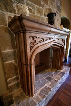 aged, glazed and copper leafed cast stone fireplace Cast Stone Fireplace, Dining Room Fireplace, Paint Fireplace, Stove Fireplace, Fireplace Remodel, Fireplace Surrounds, Fireplace Design, Fireplace Mantels, Fireplace Ideas