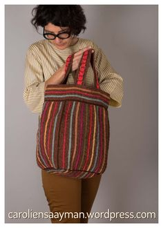 A fully lined handbag, knitted in various yarns, including cotton and mohair. 3d Fashion, Knitwear, Knit Crochet, My Design, Wordpress, African, Stripes, Knitting, Fabric