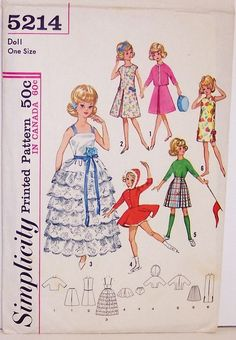 "HOW ADORABLE! This wardrobe for Tammy and Jan 12"" Dolls or other Barbie Type dolls is so cute! View 1 two-piece suit with inverted pleat at center front, jacket with kimono sleeves, front closing, button and braid trim. View 2 A-line dress has inverted pleat at center front, back closing and ribbon belt attached to dress with buttons. View 3 evening dress has gathered skirt with 6 rows of lace edging ruffles, back closing, ribbon shoulder straps and tie belt. View 4 skating outfit has a…"