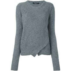 Roberto Collina wrap effect cable knit jumper (£245) ❤ liked on Polyvore featuring tops, sweaters, grey, cable knit wrap sweater, grey sweater, grey wrap sweater, wrap top and cable knit jumper