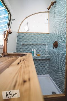 Airstream Renovation Reveal Before and After // teal penny tile in earthy funky bathroom